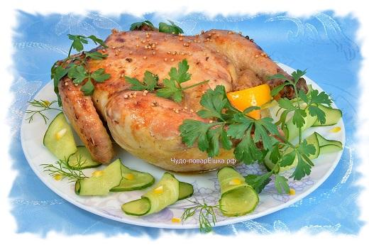 Курица в медово горчичном соусе с апельсинами