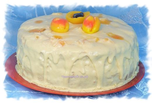 Персиковый торт с нежным творожным кремом
