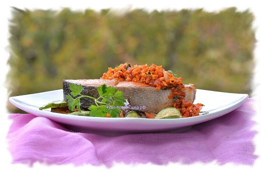 Рыба с овощным соусом